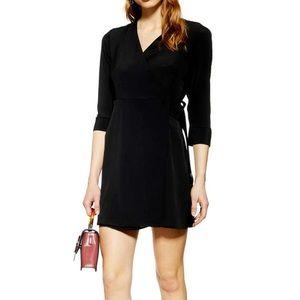 Topshop Little Black Wrap Mini Dress L/S V-neck 8